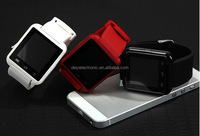 Attractive fashion best sell U8 600mah battery android smart watch with free cellphone holder