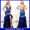 Ed-2148 blusinha mergulhando v- decote vestido azul elétrico handmade prom vestidos azul plissado