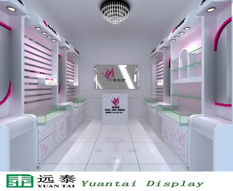 Elegant shop wooden display showcase and wall cabinet for A t design decoration co ltd