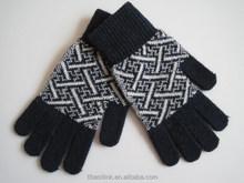 Hot Sale Black&White Space Dye Boys Winter Kintted Full Finger Mittens Gloves