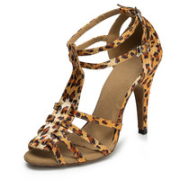 Lady Leopard Satin Dance shoes Wowen Party shoes High Heel Casual Shoe