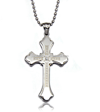 pacific hot sale stainless steel engraved cross couple necklace jewelry