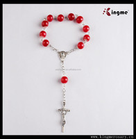 Red Glass Bead Decade Car Rosary,Car Rosaries