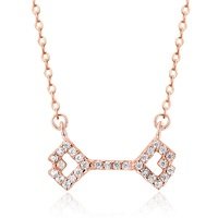 SJ Gold Supplier SJA113 Exquisite Rose Gold Plated AAA Cubic Zirconia inlayed High Polish 925 Sterling Silver Key Necklace