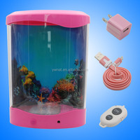 White Color Desktop Jellyfish Aquarium Tanks With Colorfull LED Lights