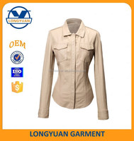 high quality new design lady casual PU blouse breathable synthetic leather shirt for women