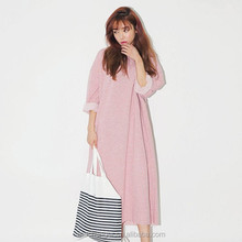 knitted OEM casual dress 100% cotton long sleeve solid color dress round collar long style dress with street fashion