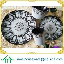 Popular grace design color glazed ceramic stoneware dinnerware with vintage floral design, antique stoneware dinnerware