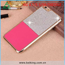 Highest Quality for iphone 6 diamond leather skin metal electroplate case