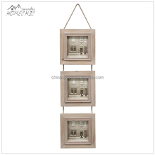 Decorative hanging 3 connected rope unfinished wood photo frame
