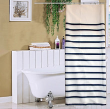 Blue and White Striped Type Polyesyer Bath Shower Curtain
