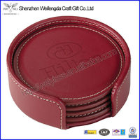 Excellent Promotional Round Embossed Red Faux Leather Coaster