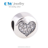 Clear CZ Stones Crystal Jewelry 925 Sterling Silver Love Heart Charm Whole Sale Beads
