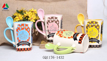 Reusable ceramic coffee mug with printing ceramic mug with spoon