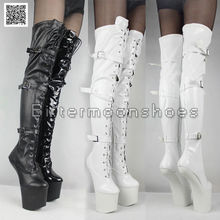 Unisex Horse Hoof Sole Fetish Stretch Leather Heelless No Heel Thigh high Boots