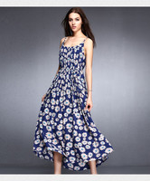 2015 fashion flowers printed women maxi frock
