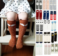 Girls/boys children's knee long socks baby kids cotton backless socks fox/panda/Totoro/cow/bear/bunny cartoon dot unisex socks