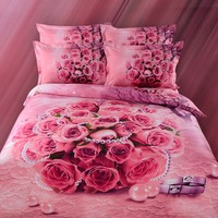 100% cotton disperse print pink 3D bedding set/embroidered satin bedspreads wholesale