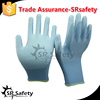 SRSAFETY 13 gauge grey nylon mixed with spandex liner glove, black based PU on palm winter gloves in china