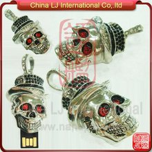 fashion decorations jewelry skull pendant usb flash drive halloween gifts