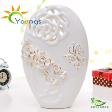 VERY Beautiful Wedding Gold Plated White Ceramic Porcelain Vase