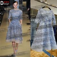 Scoop Neck Half Sleeve A Line Tea Length Alibaba China Evening Dress