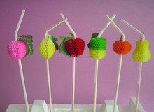 Party decoration plastic fruit drinking straws for promotion