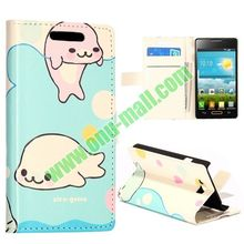 Cute Dolphins Pattern Wallet Style Leather case for lg optimus l9 ii d605 case