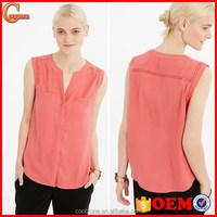 Slim fit popular crepe sleeveless simple design woman blouse 2015