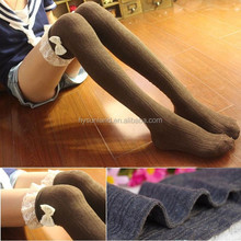 W-259 hot girl over knee high thigh long stocking with trim and bows