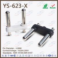 4.8MM,10~20A,250V,Brazil hollow pin plug ,Brazilian NBR 14136
