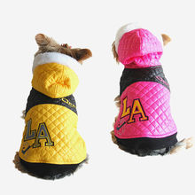 """Small Dog Pink & Yellow Quilted """"L.A"""" Fashion Jacket Pet Winter clothing"""