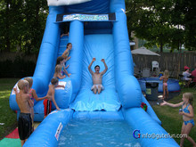 GUTEFUN fund raising events red fish inflatable slide with pool