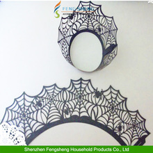 25pcs Halloween Spider Web Cupcake Muffin Wraps Wrappers Cases Cake Decorating