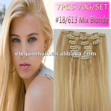 2015 Ali express wholesale price #18 mix blonde clip in hair extension for hot sale