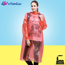 Plastic raincoat adult hooded rain poncho coat