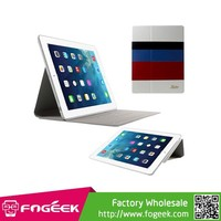 Fast Shipping KAKUSIGA Joviality Series Colorful Horizontal Stripes Flip Stand Leather Protective Case for iPad 2 3 4