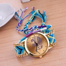 In Stock Handmade Braided Friendship Geneva Women Wrist Watch New Brand Luxury Girl Watches