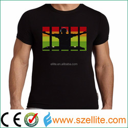 Party festival 100% Cotton washable sound active factory supply light up t shirts.
