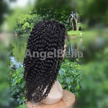 Angelbella Fashionable Kinky Curl Wig Raw Unprocessed Natural Girls Silk Base Hair Wig Cap