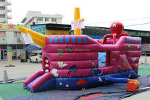 Inflatable Octopus Pirate Ship, Inflatable Octopus Slide, Bouncy Castle with Slide