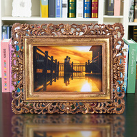 foldable scenery photo frame gold high end luxury resin puzzle picture frame moulding 4 x 6 for memory recording 0.45kg BY001