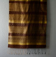 Laos Silk Striped Scarf - Brown and Yellow