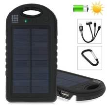 HAWEEL 8000mAh Double USB Solar Power Bank Portable Solar Charger with LED Flash Light for Mobile Phones