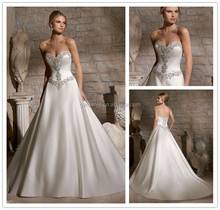 Classic Satin Multi Colored Rhinestone A Line Sweetheart Fat Women Wedding Dress Pictures