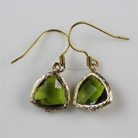 Raw Brass Green Faceted Aqua Chalcedony Vogue Jewelry Earrings