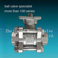"New Design Long Neck ISO 5211 Mounting Pad 3 pc ball valve DN15(1/2"" inch)"