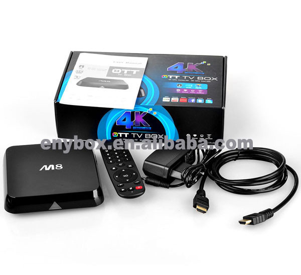 M8N Amlogic S802 2.0GHz Quad Core XBMC Android TV Box 4K 2G/8G Band WIFI 2.4G 5G Bluetooth 4.0