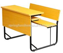 Top vendita usato mobili scolastici doppio banco di scuola e una sedia studente scrivania e una sedia ct-309