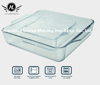 Kitchen Used Square Heat Resistant High Borosilicate Glass Baking Tray/Dish With Handle